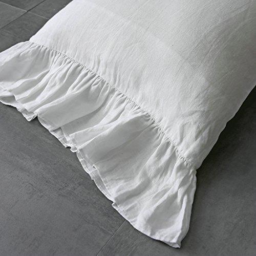 (ESASILK Ruffles Linen Pillowcase .Pure Flax Pillow Sham 100% French Linen Ruffled Pillow Cover ,Standard ,Queen ,King Size (twin, white))