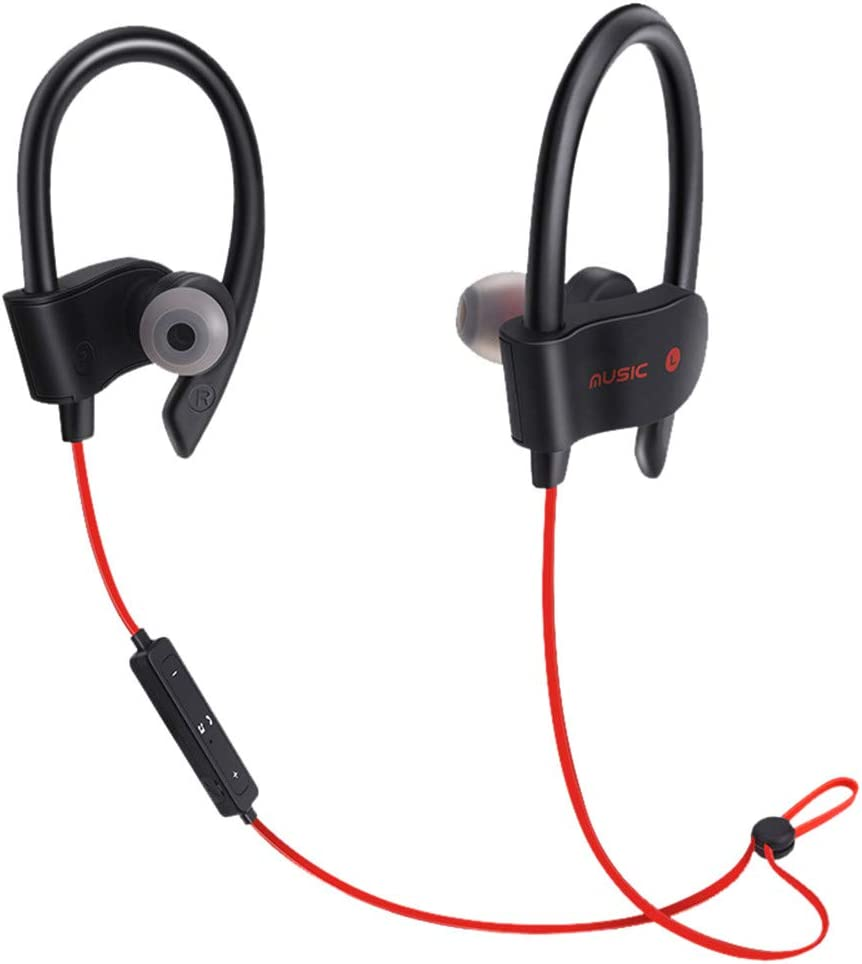 Earphones, Wireless Bluetooth Headset Headphones Sport Sweatproof Stereo Earbuds Earphone,Music Recording Equipment,Red