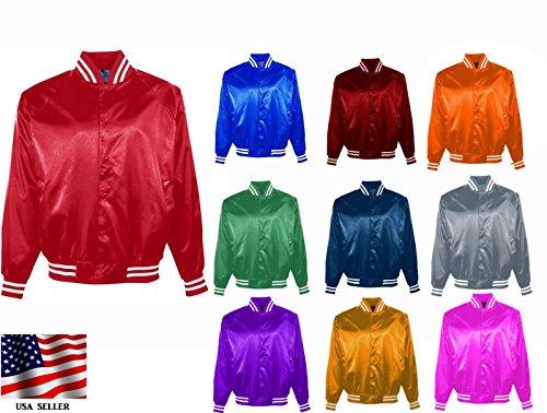 Genz Men Women Bomber Jacket Satin Polyester Vintage Army Biker Retro Zip up Casual Coat (Brown, Small)