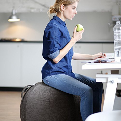 VLUV STOV 25.6'' Premium Quality Self-Standing Sitting Ball with Handle - Home or Office Chair and Exercise Ball for Yoga, Back Stretching, or Gym - Macchiato Colored Upholstery Fabric Stability Ball