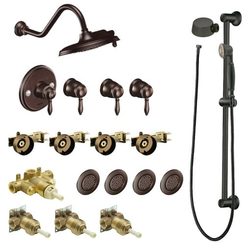 - Moen KSPWE-HLS-TS32112ORB Weymouth 9-Inch Rainshower Vertical Spa Kit with Handheld Shower and Slide Bar, Oil Rubbed Bronze
