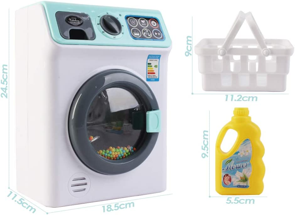 deAO My First Washing Machine Laundry and Cleaning Play Set for Kids with Variety of Washing Accessories and Realistic Functions Included