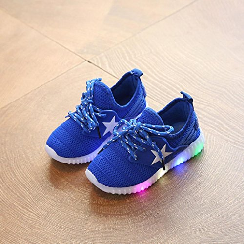 huichang Fashion Baby Sneakers Star Luminous Child Casual colorful Light Shoes Blue bbeqbLn