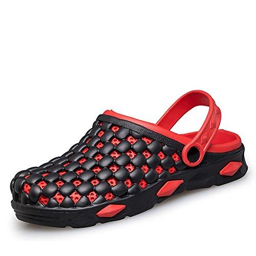 Mode-Löcher im Sommer Hausschuhe/Rutschfeste atmungsaktive Fuß Strand Hausschuhe-Rote Fußlänge=25.3CM(10Inch)