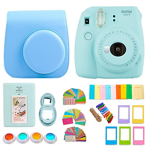 FujiFilm Instax Mini 9 Camera + Protective Case/ Hanging Frames/ 4 Filters/ Selfie Lens/ Photo Album/ Stickers and More - Portable & Perfect Gift - (Ice Blue)