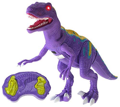 Walking Series Dinosaur World Raptor Remote Controlled RC Battery Operated Toy Velociraptor Figure w/Shaking Head, Walking Movement, Light Up Eyes & Sounds