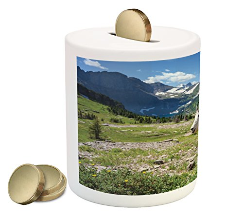 Lunarable Goat Coin Box Bank  Wild Animal Photo In Glacier National Park In The United States Of America Idyllic  Printed Ceramic Coin Bank Money Box For Cash Saving  Multicolor