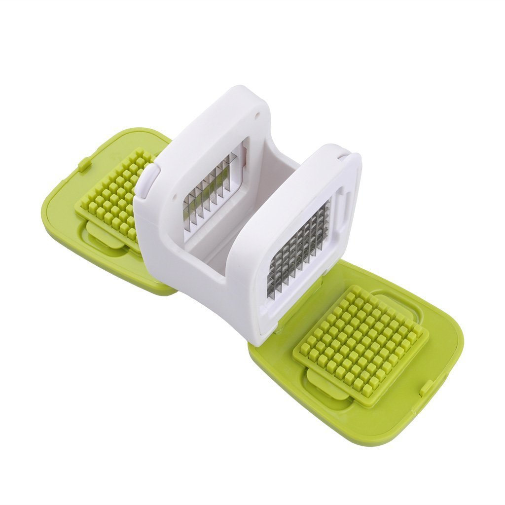 Mini Garlic Press Cube Garlic Dices Slices Grates Plastic with Stainless Steel Blades