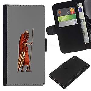 Hombre africano de Masai Bushman 3D- la tarjeta de Crédito Slots PU Funda de cuero Monedero caso cubierta de piel Para Sony Xperia Z3 Plus / Z3+ / Sony E6553 (Not Z3)