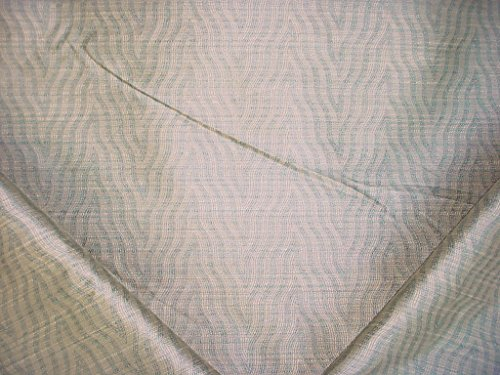 146RT15 - Dusty Blue / Birch Zebra / Tiger Stripe Faux Silk Upholstery Drapery Fabric - By the Yard