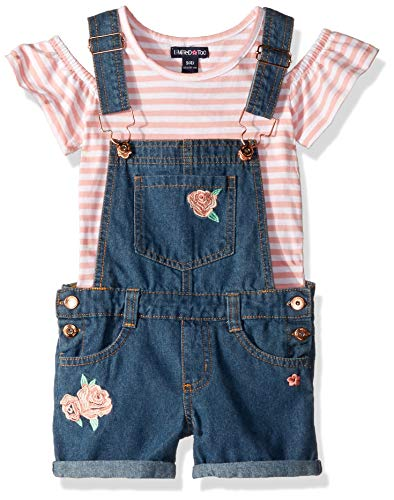 Limited Too Girls' Little Cold Shoulder Stripe Top and Shortall Set, Roses Multi, 6