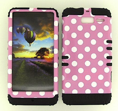 M XT907 CASE (WHITE DOTS PINK SNAP + Black SKIN), HIGH IMPACT DUAL LAYER PROTECTIVE FOR DROID RAZR M XT907, SHOCKPROOF BUMPER COVER HARD & SOFT RUBBER HYBRID - BK-TP1645 CELLPHONE [POLOS US] (Motorola Razr Snap Cases)