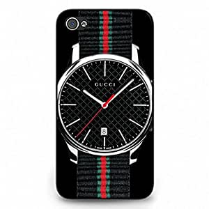 Watch Series Gucci Logo Phone Case Black Hard Plastic Case Cover Snap On Iphone 4,Gucci Logo Iphone 4 Case(Black)