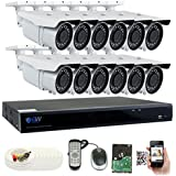 GW 5 Megapixel HD 1920P Complete Security System | (12) x 5MP Outdoor 3.3-12mm Varifocal Zoom Bullet Security Cameras, 16-Channel Plug and Play 5-In-1 DVR, True 5MP Double the resolution of 2MP 1080P