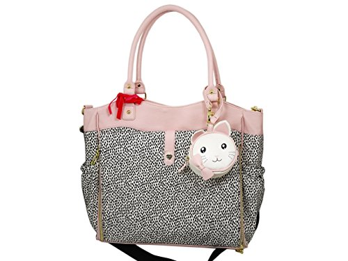 Betsey Johnson Women's North/South Roll Out Diaper Tote Bone/Black Diaper - Locator Kor Store Michael