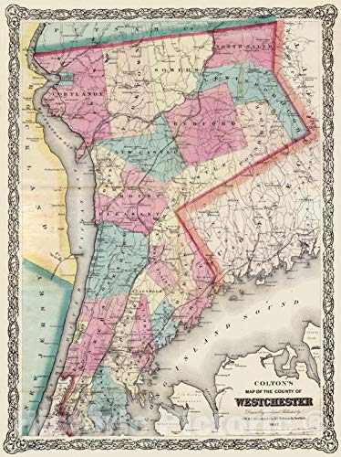 - Historic Map | Pocket Map, Westchester County, New York 1867 | Vintage Wall Art | 18in x 24in