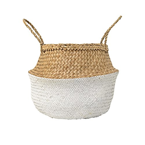 Bloomingville Home Accessories Large Seagrass Basket with Handles, 19.5 Inch, Natural & White