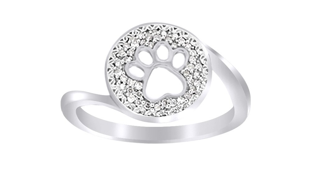 AFFY White Natural Diamond Paw Print Ring in 14k White Gold Over Sterling Silver (0.1 Ct)