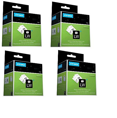 Dymo Name Label Badge (DYMO 30857 Name Badge Labels for Label Printers, White, 2-1/4'' x 4'', 250 Labels Per Roll 4 ROLLS)