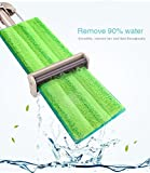VINAMOP Hand-free-washing Microfiber Floor Mop, Stainless Steel Handle Flat Mop For Home Kitchen Bathroom Floors Cleaning - Wet or Dry Usage on Hardwood, Laminate & Tile