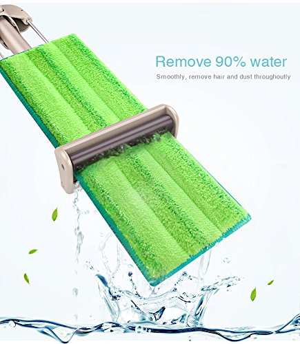 VINAMOP Hand-free-washing Microfiber Floor Mop, Stainless Steel Handle Flat Mop For Home Kitchen Bathroom Floors Cleaning - Wet or Dry Usage on Hardwood, Laminate & Tile