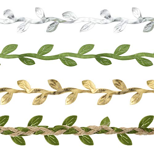 Zonon 4 Rolls Artificial Vines Green Vines Trim Foliage Rattan Fake Hanging Plants Leaf Ribbon for DIY Garlands Wedding Wall Crafts Party Decor, A Roll of 32.8 ()