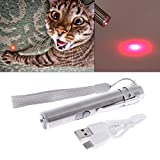 Lottoy USB Rechargeable Cat Teaser Toy, 3 in 1 Interactive LED Light Pointer Pen +Flashlight Pen+Banknote Checking Pen