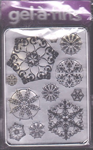 Gel-a-tins Big Fancy Flakes 11 Clear Rubber Stamps in Protective Tin