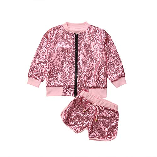 Toddler Baby Girl Kids Fall Jacket Outfits Sequin Zipper Tops Shorts Clothes Set (Pink, 5-6T) (Set Outfit Jacket)