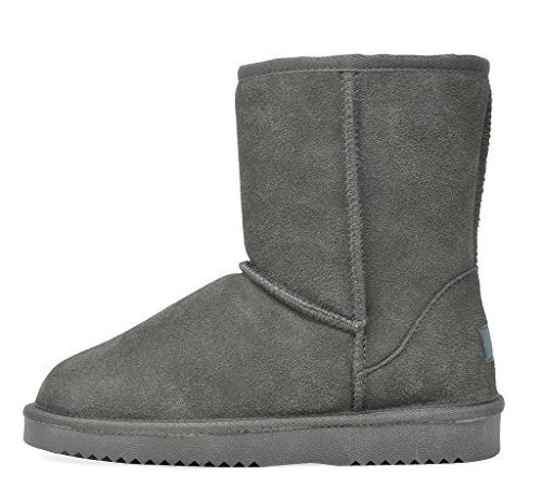 Women's classic Sheepskin Pairs Boots Lining Leather Grey Fur Suede Dream Winter 5waxfIvv