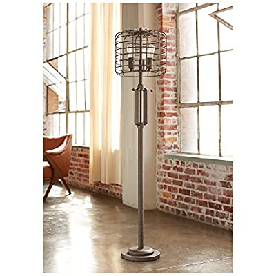 "Industrial Cage 65"" High Metal Floor Lamp with Edison Bulbs"