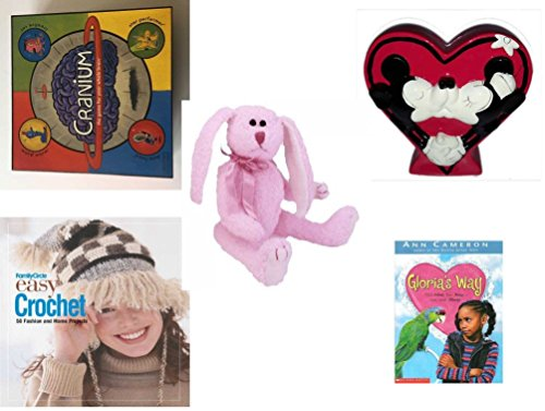 Girl's Gift Bundle - Ages 6-12 [5 Piece] - 2002 Cranium Game - Disney Mickey & Minnie Heart-Shaped Coin Bank - Ty Attic Treasures Strawbunny The Bunny Rabbit - Family -