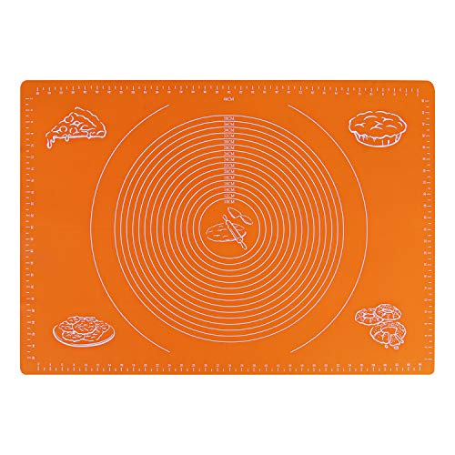 """Macaron Non-slip Silicone Baking Mat,Non-stick Pastry Mat With Measurements,Dough Rolling Silicone Mats For Baking (20""""x28"""", Orange)"""