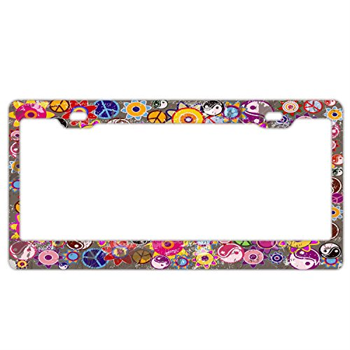 - Hippies Colorful Retro Flowers License Plate Frame Car Tag Holder Stainless Steel Metal License Plate Frame Humor