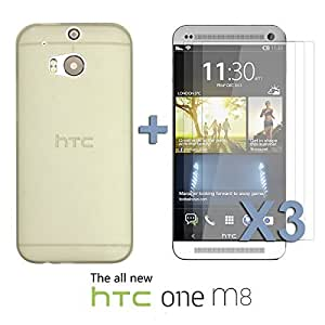 OnlineBestDigital - Ultra-Slim Colorful Transparent Case for HTC One M8 - Grey with 3 Screen Protectors