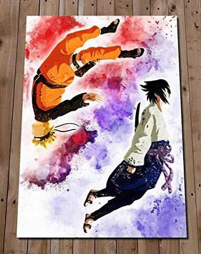 - NARUTO SASUKE Poster Gift - Art Watercolour Painting Gift - Wall Decor - Shippuden - Naruto Uzumaki - Sasuke Uchiha - Yin and Yang