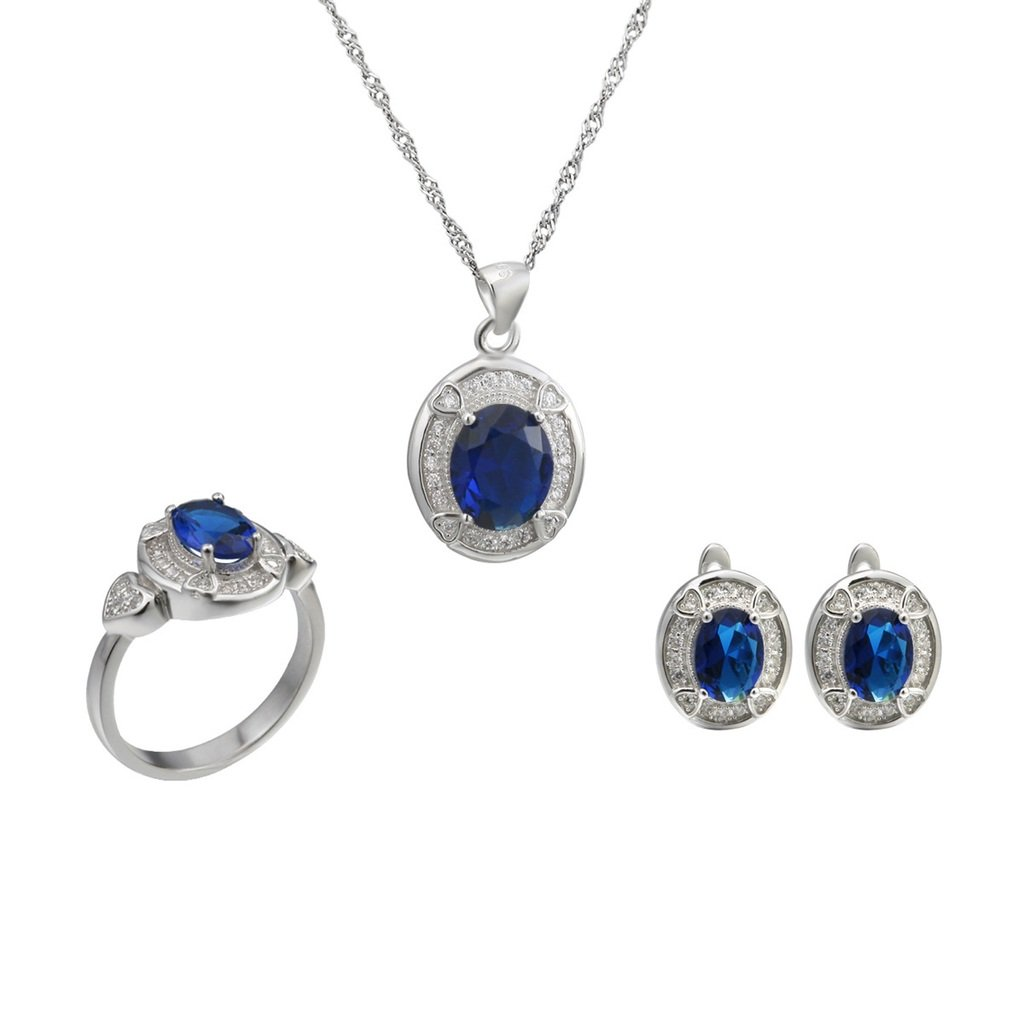 Aooaz Womens Jewelry Set, Blue Oval CZ Crystal Retro Wedding Ring Necklace Earrings Eternal Love 4 Prongs