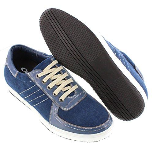 calto–g3608–6,1cm Grande Taille–Hauteur Augmenter Chaussures ascenseur–en nubuck bleu lacets