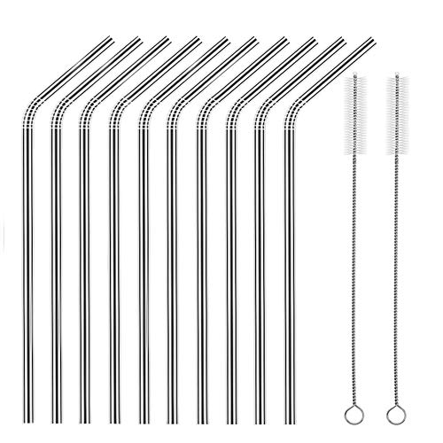 Set of 10 Stainless Steel Straws, HuaQi Bent Reusable Drinking Straws 10.5'' Long 0.24'' Dia for 30 oz Tumbler and 20 oz Tumbler, 2 Cleaning Brush Included (10.5 Inch 10pcs Bent) (Bendable Metal)