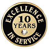 PinMart's Gold Plated Excellence in Service Enamel Lapel Pin w/ Rhinestone - 10 Years