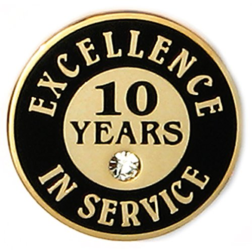 - PinMart's Gold Plated Excellence in Service Enamel Lapel Pin w/ Rhinestone - 10 Years