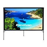 Excelvan Portable Movie Screen 16:9 Indoor Outdoor Projector Screen Foldable DIY Display Screen for Home Cinema Education Office Public Presentations, with Tent Camp Stand (80 inch)
