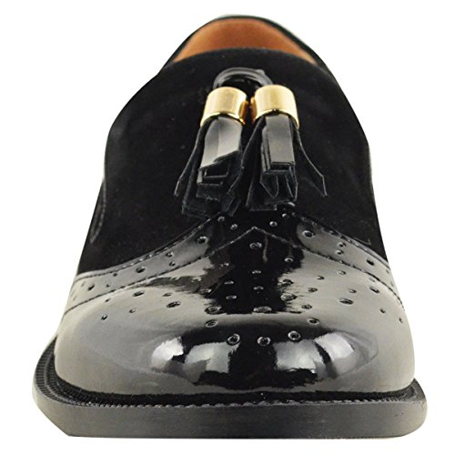 Fashion Thirsty LADIES WOMENS VINTAGE TASSEL LOAFERS FLAT SCHOOL OFFICE SHOES PUMPS BROGUES SIZE Black Suede Patent NmZf66r3