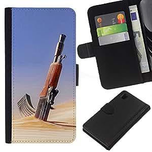 KLONGSHOP // Tirón de la caja Cartera de cuero con ranuras para tarjetas - Desierto del arma AK47 - Sony Xperia Z1 L39 //