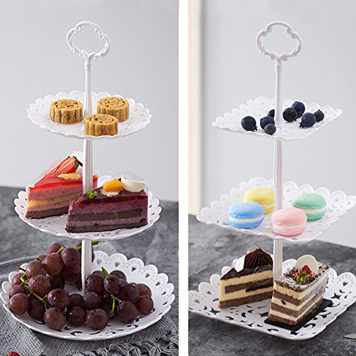 2 Set of 3-Tier Cake Stand and Fruit Plate Cupcake Plastic Stand White for Cakes Desserts Fruits Candy Buffet Stand for Wedding & Home & Birthday Party Serving Platter by Agyvvt (Image #3)
