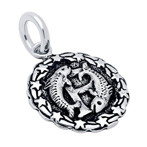 CloseoutWarehouse Sterling Silver Pisces Zodiac (Feb 19 - Mar 20) Charm