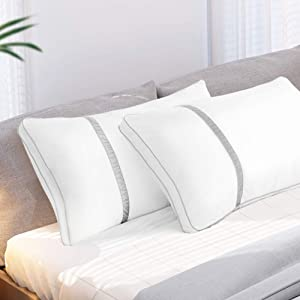BedStory Pillows for Sleeping 2 Pack, Hotel Quality Bed Pillow Queen Size, Down Alternative Hypoallergenic Pillows with Ultra Soft Fiber Fill, Good for Back and Side Sleepers