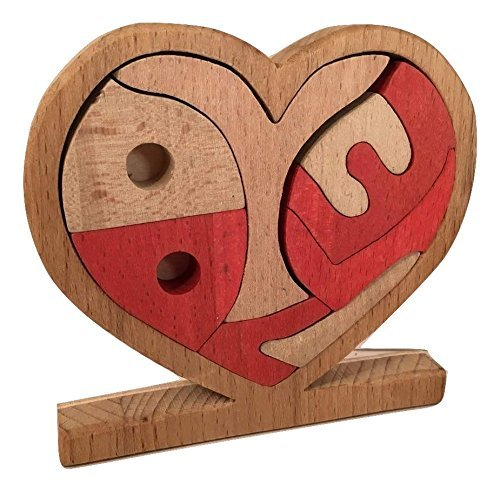 """Wooden Puzzle Heart """"I Love you"""" - Hand Made Organic Natural Toy - Valentine's day gift"""