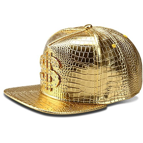 - Hip Hop Hat,Flat-Brimmed Hat,Rock Cap,Adjustable Snapback Hat Men Women(Gold)