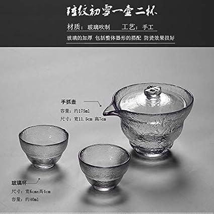 GBCJ juego de té Primer espesamiento de nieve japonés, vidrio resistente al calor, tres tazas de tazas, tazas de té, Kung Fu, tazón de té, tetera, juego de té, tamaño grande, Martillo de vidrio, pri